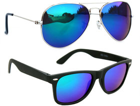 Combo Of Blue Mirror Aviator And Wayfarer Sunglasses