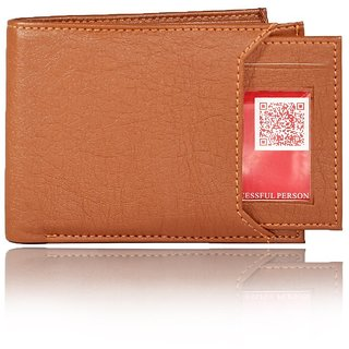 Moody Max-Men's Slider Tan Artificial Leather Wallet  (7 Card Slots) (Synthetic leather/Rexine)