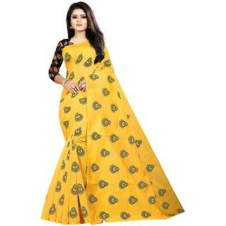 Meia Women's Chanderi Cotton Printed Saree (PRINT MUKUT YELLOW-NEW)