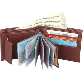 Moody Max- Men's Brown Leather Wallet (10 card slot Album) (Synthetic leather/Rexine)
