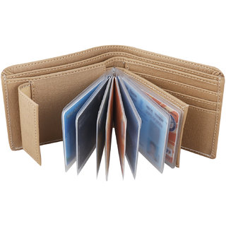 Moody Max- Men's Beige Leather Wallet (10 card slot Album) (Synthetic leather/Rexine)