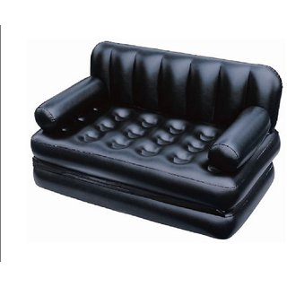 Vox   Airsofa Cum Bed 5 In 1 Pvc 3 Seater Inflatable Sofas  Black