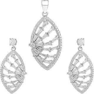 92.5 Sterling Silver Cubic Zirconia Studded Designer Pendant Earrings Set for Women and Girls