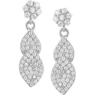 92.5 Sterling Silver Cubic Zirconia Flower and Leaves Earrings for Women and Girls (25mm7mm) (Rose Gold/ Silver)
