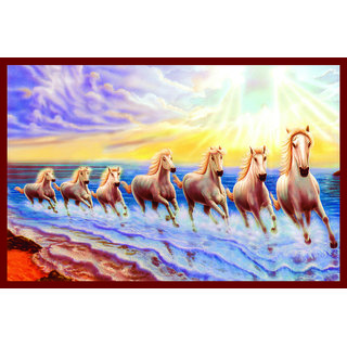 Buy 7 Horse In Right Direction Painting Sticker As Per Vastu Without Frame Online 145 From Shopclues