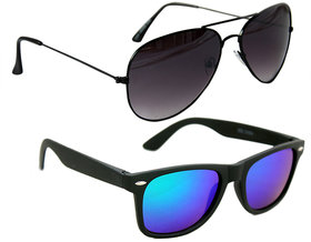 Combo Of Mens Aviator In Black And Wayfarer Style Sunglasses