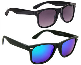 Combo Of Wayfarer In Black And Wayfarer Style Sunglasses