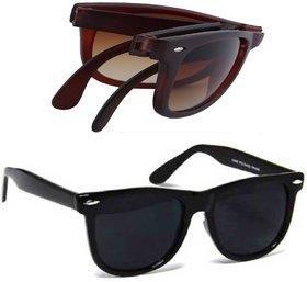 Combo of brown folding  black wayfarer sunglasses