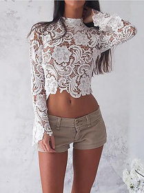 Aiyra Floral Lace Mock Neck Crop Women's Tops