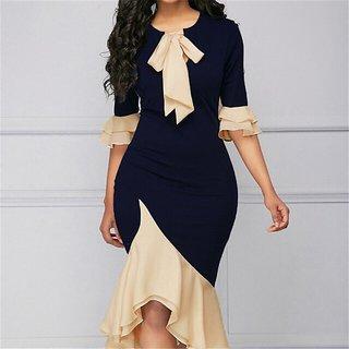 Aiyra Contrast Ruffle Detail Asymmetric Dress