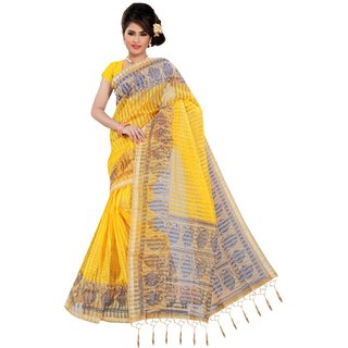 Florence Yellow Satin Striped Saree With Blouse