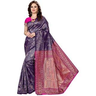 Florence Blue and Pink Banarasi Silk Paisley Saree With Blouse
