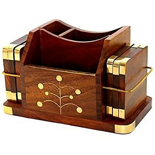Office table top accessory with pen stand and coasters made of sheesham wood