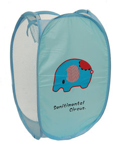 Winner Full Size Rectangular Light Blue Foldable Laundry Basket - Laundry Bag for Organizing Cloths Pack of 1