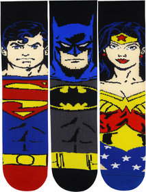 Justice League Kids Character Face Socks - Superman, Batman, Flash - Special Edition