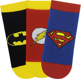 Justice League Kids Low Cut Socks - Superman, Batman, Flash - Pack of 3