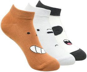 We Bare Bears Kids Cushioned Low Cut Socks by Balenzia- White, Brown, D.Grey- Pack of 3