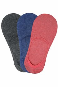 Balenzia Women's Modal No Show Socks with Anti Slip Silicon System - Pack of 3 (Grey, Blue, Pink)