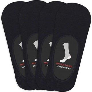 Balenzia Mens Anti-Slip Premium Cotton Loafer Socks - Pack of 4(Black)