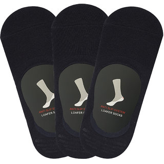 Balenzia Mens Cushioned Cotton No Show Socks with Anti Slip Silicon System - Pack of 3 (Black)