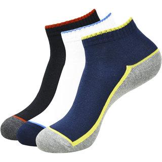 Balenzia Mens Ankle Socks- Black Navy White ( Pack of 3)