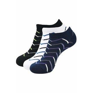 Balenzia Mens Low Cut Socks- Black Navy White ( Pack of 3)