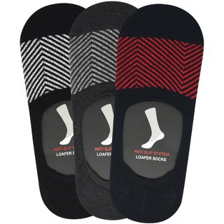 Balenzia Mens Cotton No Show Socks with Anti Slip Silicon System - Pack of 3 (Black Mustard Red) - Invisible / Loafer Socks