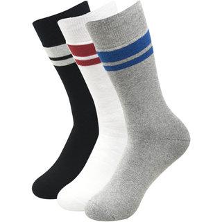 Balenzia Men full cushioned Cotton crew socks- Black Light Grey White -Pack of 3