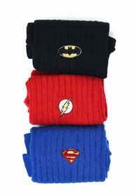Justice League Men's Rib Socks- Blue, Red, Black- Pack of 3