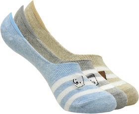 We Bare Bears Women Loafer Socks by Balenzia- Blue, L.Grey, Beige- Pack of 3