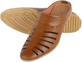 Mr Cobbler Men Tan Daily Wear Slip on Sandals