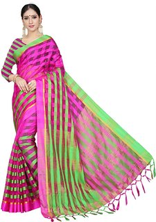 09fe769f53 Ruchika Fashion Women's Checkered Handloom Cotton Linen Blend Saree with  Blouse Piece (Chokdi)