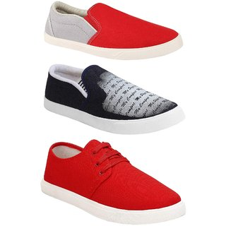 Chevit Combo Pack of 3Sneaker With Loafers Shoes For Men (Red,Black)