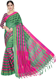 Ruchika Fashion Women's Checkered Handloom Cotton Linen Blend Saree with Blouse Piece (GreenPink)