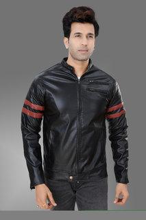 Trustedsnap Black Pu Jacket for Mens
