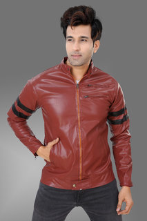 Trustedsnap Marron and  Black Strip Pu Jacket for Mens