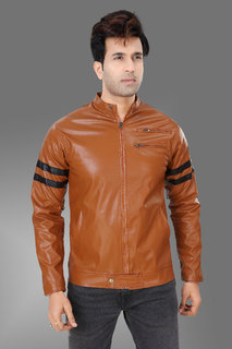 Trustedsnap Tan and Black Strip Pu Jacket for Mens