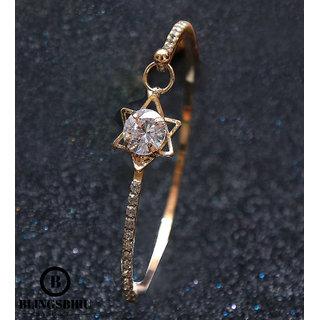 Blings Biru Gems Studded Vedic Designed Gold Plated Cuff Bracelet