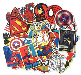 DY Waterproof Vinyl Super Heroes Laptop Stickers for Laptops Mobiles Luggage Bikes - 50 Pieces