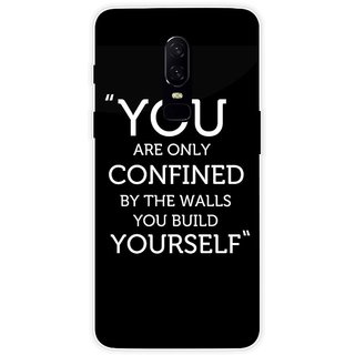 SmartNxt Designer Printed Case for OnePlus 6 | Black | Quotes | Motivational Quote