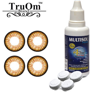TruOm Honey Combo Pack Monthly Colour Contact Lens With Solution