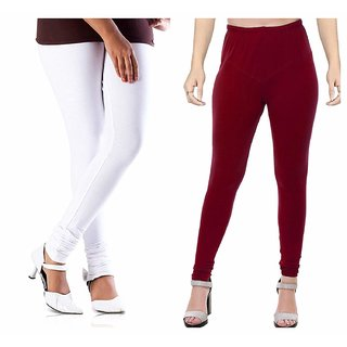 De-Ultimate Set Of 2 Premium Quality Soft Cotton Stretchable Churidar Leggings for Womens (Free Size Fits In M,L,XL)