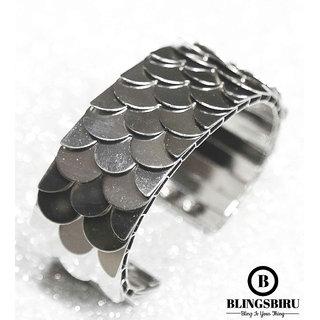 Blings Biru Celebrity Inspired Silver Glitter Cuff Bracelets