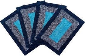 SHF Door Mat cotton for Home Set of 4 piece 40x60 cm  blue multicolor