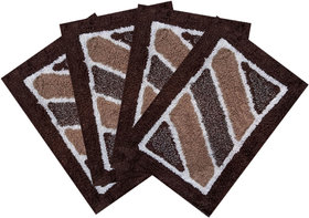 SHF Door Mat cotton for Home Set of 4 piece 40x60 cm  brown multicolor