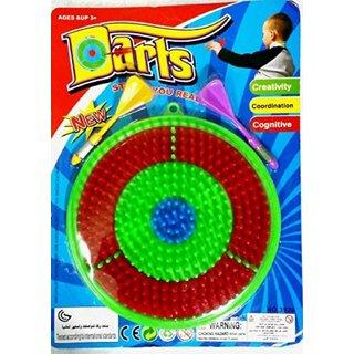 VEEJEE Plastic Dart Game for Kids 1 Dart Board 2 Darts to Improve Aim for Kids Multi Color