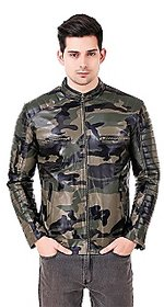 Leather Retail Army Design Faux Leather Jacket For Mans