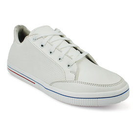 Groofer Men's White lace -up Casual Sneakers