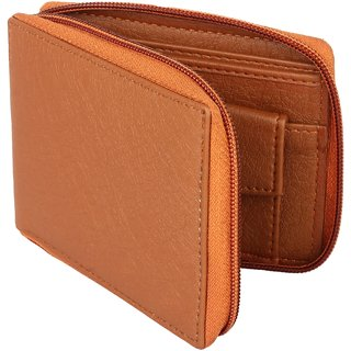 Moody Max - Casual Men's Tan Genuine Leatherette Zipper Wallet (Synthetic leather/Rexine)