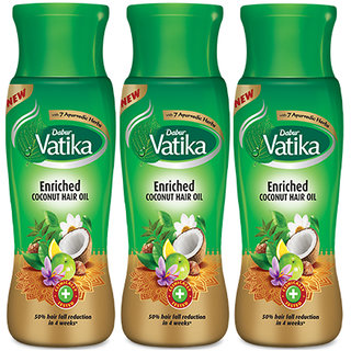 Dabur Vatika Enriched Coconut Hair Oil 75ml Pack Of 3